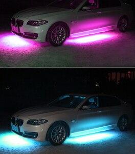 Image 5 - 4x Автомобильная гибкая светодиодная лента для подсвечивания/пульт дистанционного управления RGB декоративная атмосферная лампа под трубой система нижнего белья неоновый свет комплект