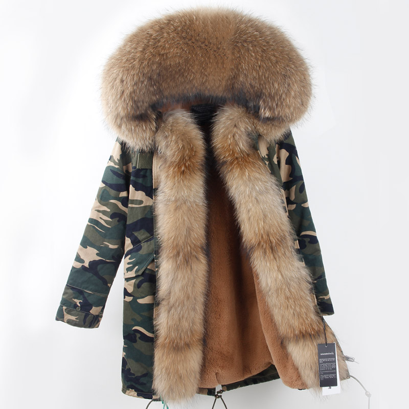 American 2017 Women Winter Fashion Long Camouflage Thick Jackets Coats Ladies Top Quality Casual Large Natural Fur Hooded Parkas