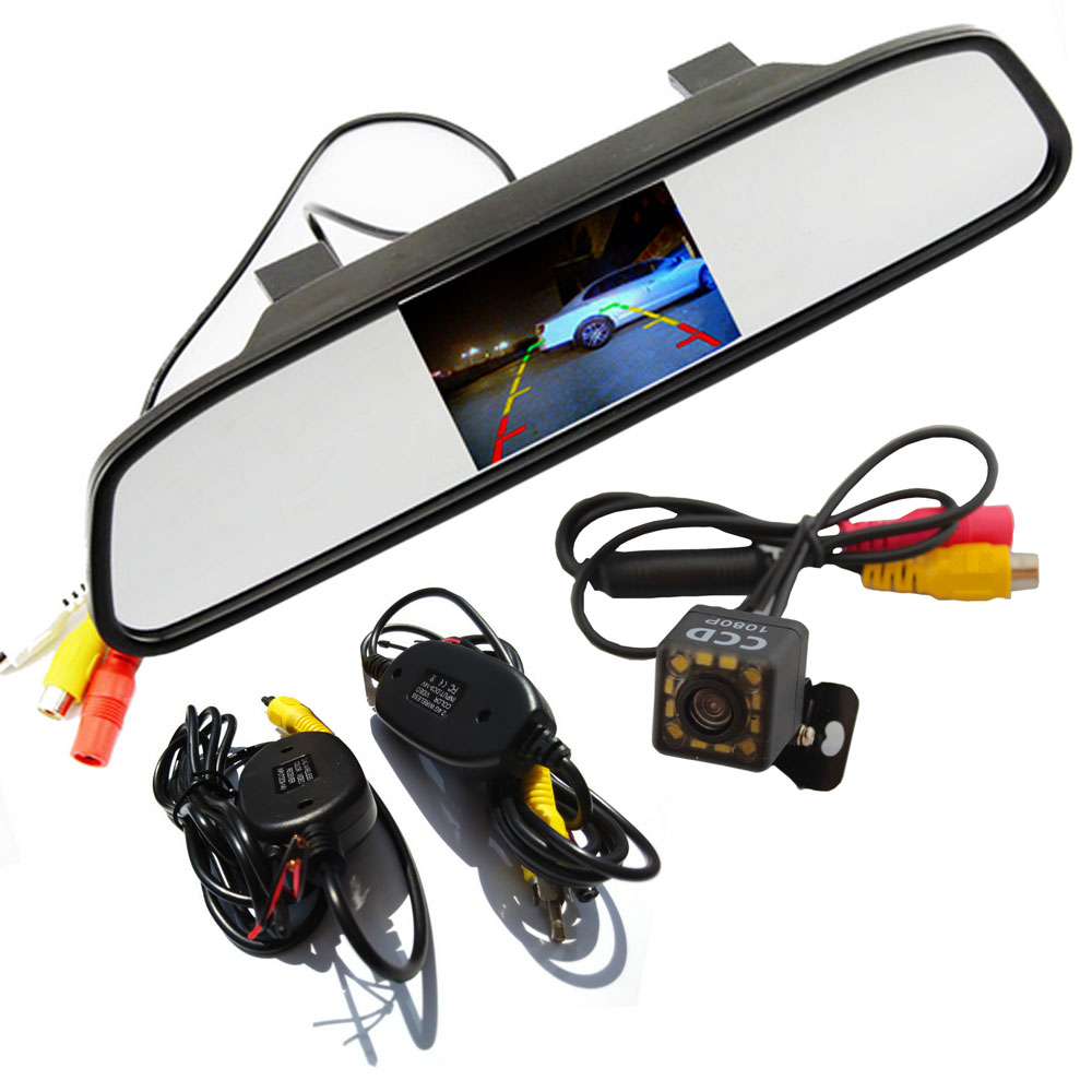 1080P Wireless Rear View Camera CCD Video Auto 4.3 inch Car Rearview Mirror Monitor Parking Assistance Reversing Backup Camera