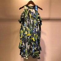 Лето 2019 для женщин шелк сексуальное платье без бретелек плеча с длинным рукавом печати мини платье с оборками пляжное платье