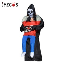 Halloween Scary Suit Inflatable Illusion Skull Adult Costumes for Women Men Cheap Ghost Skeleton Fancy Dress