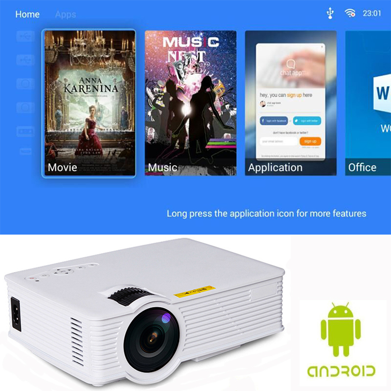 Image 2 - S90 S90wifi (Android 6.0) Mini LED Home Cinema Projector WiFi 1800lumens Multimedia LCD Proyector 3D Beamer Support AC3 HD 1080P-in LCD Projectors from Consumer Electronics