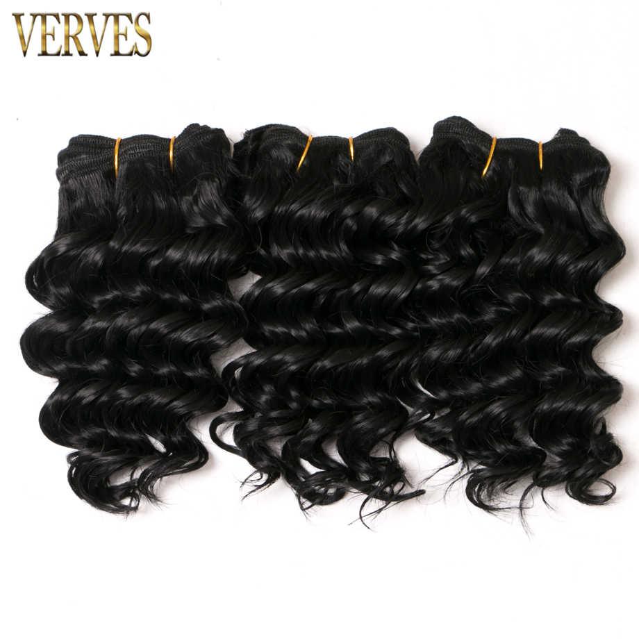 2 unid/set onda profunda 8 pulgadas bob estilo corto 100 g/set extensiones de cabello sintético VERVES pelo tejido paquetes color negro