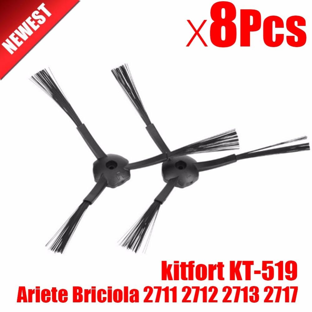 цена на 8Pcs Side Brush replacement for Kitfort 503  Ariete Briciola 2711 2712 2713 2717 Robot Vacuum Cleaner Robotisc Parts
