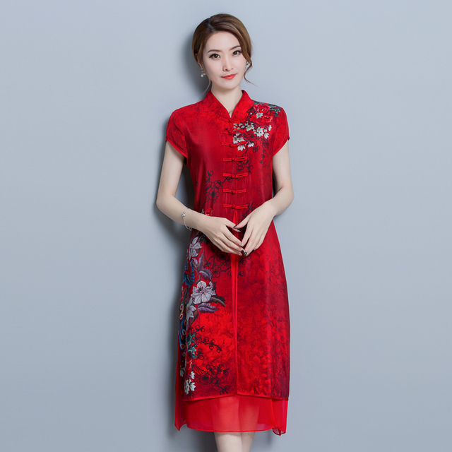 Vintage Women High Quality Chiffon Print Calf Length Dress Luxury Short Sleeve Split Patchwork Loose Large Size Summer New 2018 2