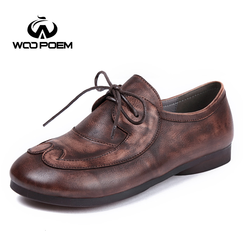 WooPoem Brand Shoes Woman Genuine Leather Flats Lace-Up Low Heel Soft Cow Muscle Sole Retro Style Big Size 42 Women Shoes 721-T3 woopoem brand 2017 new autumn shoes woman breathable genuine leather flats low heel soft sole fretwork casual women shoes 7761
