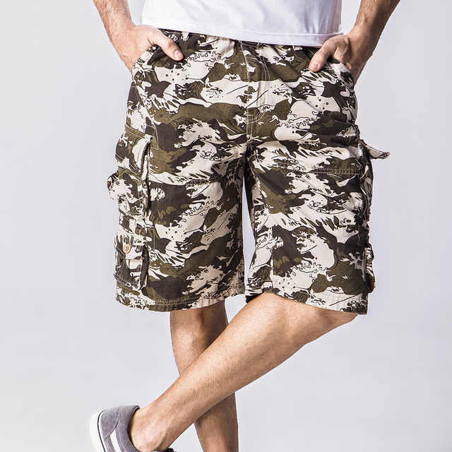 0688708cef cargo shorts men 2018 new arrival men's multi-pocket loose-fitting  knee-length trousers men clothes 2018 camouflage shorts