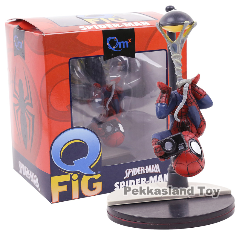 Q Fig Marvel Spiderman PVC Figure Collectible Model Toy Car Decoration Doll 14cm fantastic four knight ultimate stonema thing human torch doll handmade toy model marvel t21