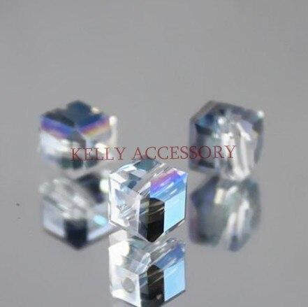 gratis verzending 100 stkspartij 1010mm half transparant blauw kristal glas facet plein gordijnen kralen in bulk voor sieraden maken