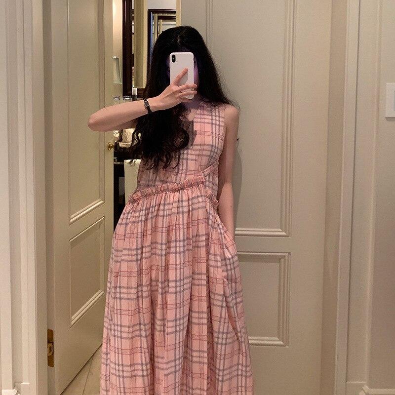 Корейская версия Лето 2019 тщательно машинное морщин кружева и ветер без рукавов галстук Показать Тонкий клетчатое платье