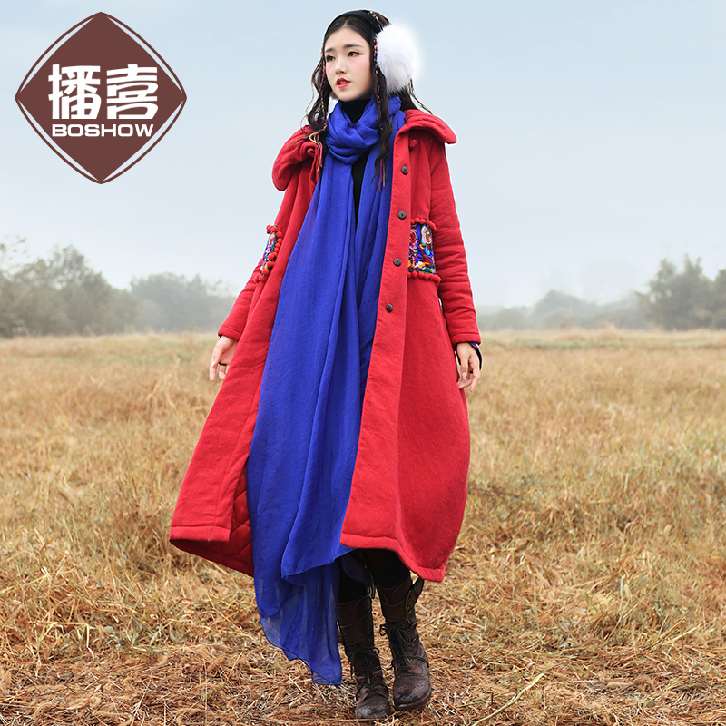 Free Shipping 2017 New Fashion Long Winter Women National Trend Embroidered Loose Thermal Red Wadded Jacket M-L Thick Trench
