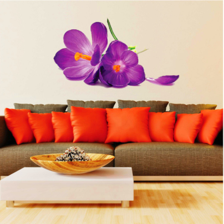 Purple Pollen Removable Wall Art Decal Sticker Diy Home: New Design 3D Purple Flowers Wall Stickers Home Decor