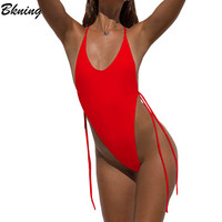 Bknig 2018 Thong Swimsuit Sexy Swimwear Women One Piece Swimsuits Micro Leotard Swimming Suit Female Monokini