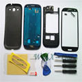 Black Mobile Phone Replacement Full Housing Cover Case + Screen Glass + Tools + Buttons  For Samsung Galaxy S3 I9300