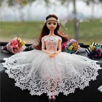 CXZYKING White Wedding Doll Barbie Party Dress Car Decoration Girl Gift Barbie Shoes Pear Crown Accessories