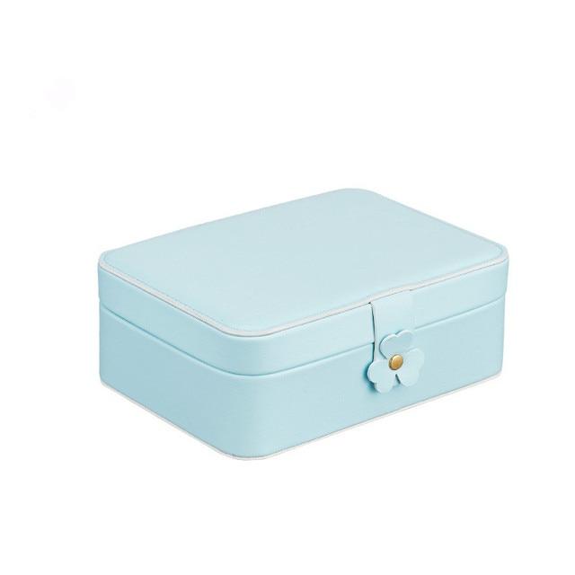 2019 PU double jewellery box Simple atmospheric jewelry storage box Earring ring creative large capacity jewelry box