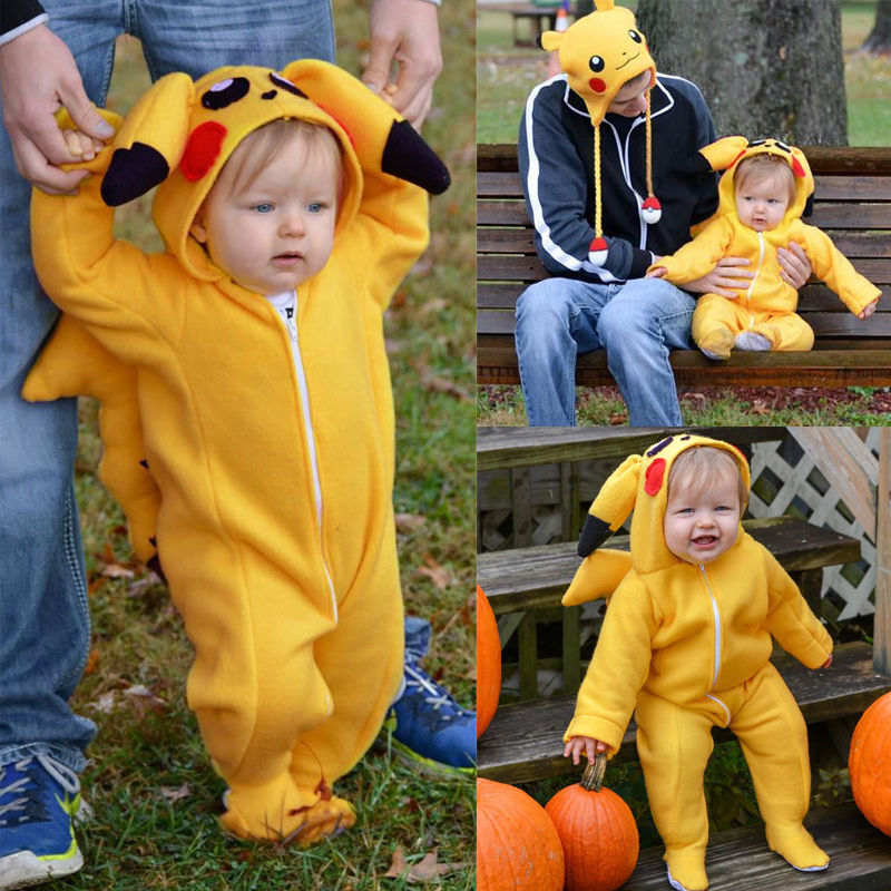 Cute Baby Clothes Infant Newborn Baby Boys Girls 3D Cartoon Pikachu Costume Long Sleeve Cotton Romper Playsuit Hooded Rompers sr118 baby rompers 2016 spring newborn cotton pajamas clothes bebe long sleeve hooded romper infant overall boys girls jumpsuit