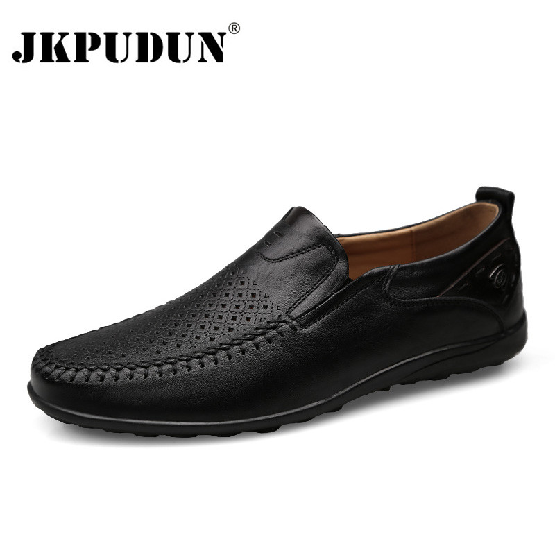 JKPUDUN Italian Men Casual Shoes Summer Genuine Leather Men Loafers Moccasins Slip On Men's Flats Breathable Male Driving Shoes(China)