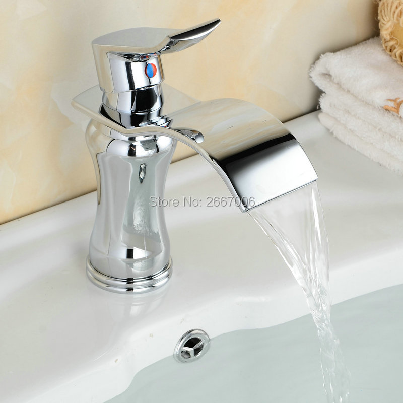 Free shipping Newly Chrome Brass High Polish Bathroom Faucet Waterfall Basin Sink Tap Kitchen Mixer Faucet Tap Designer ZR617 newly arrived pull out kitchen faucet gold sink mixer tap 360 degree rotation torneira cozinha mixer taps kitchen tap