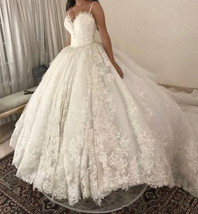 luxury ball gown Wedding Dresses Spaghetti straps Lace Applique Wedding Gowns Sweep Train 2019 Bridal Dresse Vestido De Novia-in Wedding Dresses from Weddings & Events    2