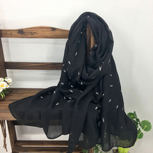 Simple Design Small Character Print Solid Color Womens Long Shawls Scarf Cheap Ladies Ultra Soft Winter