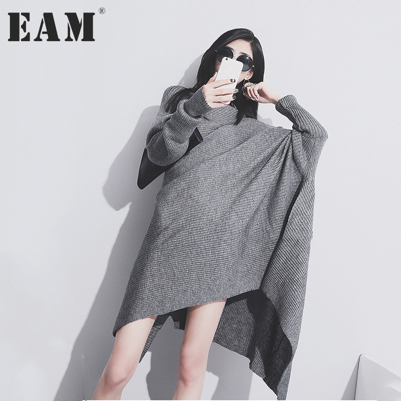 EAM 2017 Trendy New Knit Dress Solid Color Loose Big Size Long Batwing Sleeve Irrgular