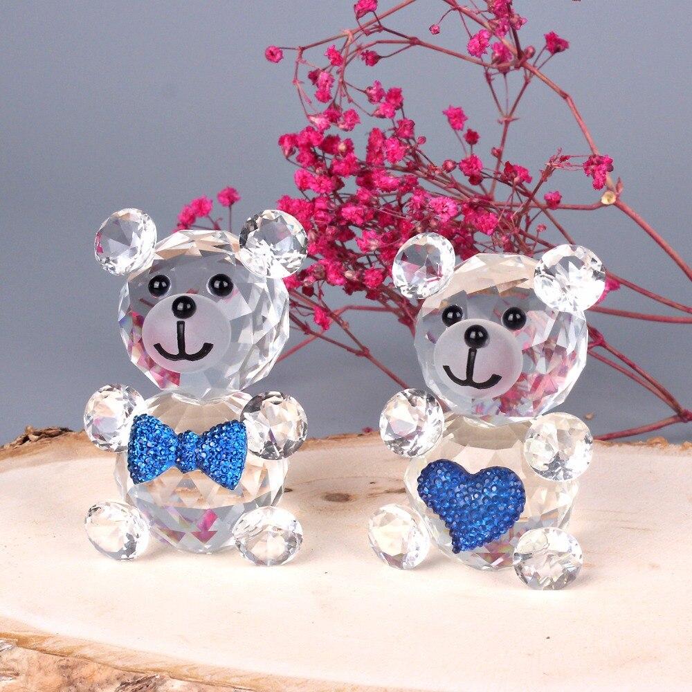 Animal Home Decor: Crystal Cute Bear Figurine Miniatures Glass Decorative