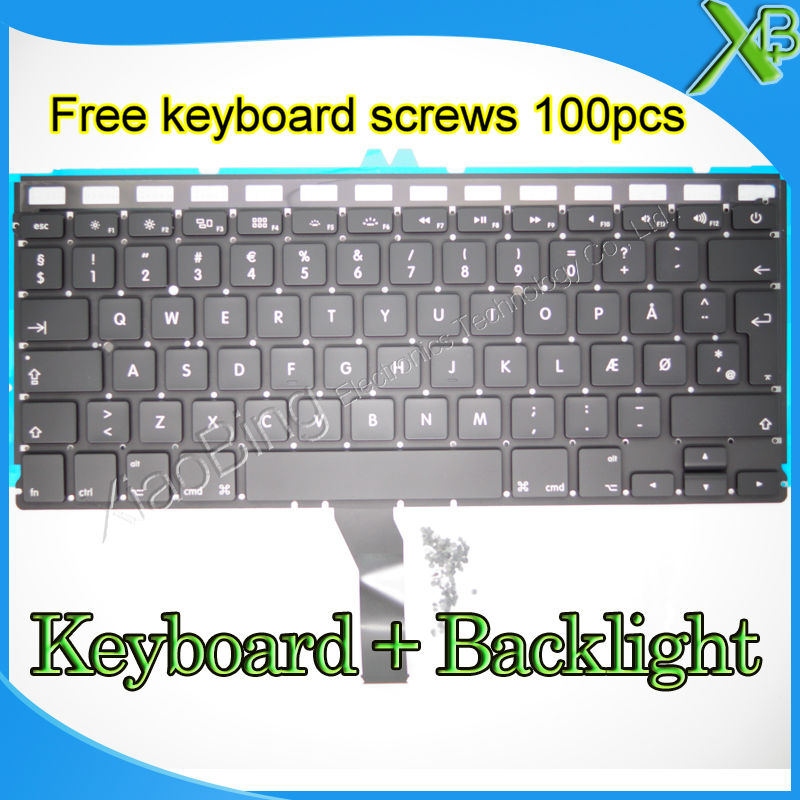 Brand New DK Denmark keyboard+Backlight Backlit+100pcs keyboard screws For MacBook Air 1 ...