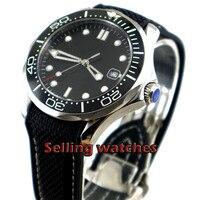 41mm bliger Black sterile dial Black Rubber strap Black ceramic bezel sapphire glass date Mechanical automatic mens watch
