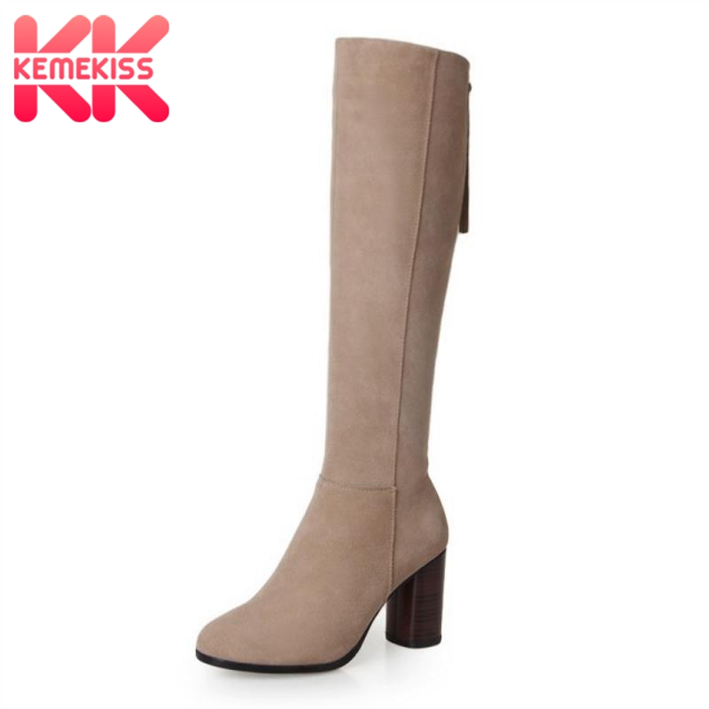 KemeKiss New Round Toe Knee High Real Genuine Leather Boots Fashion Women Shoes Ladies Medium Heel Autumn Boots Size 34-39 new arrival superstar genuine leather chelsea boots women round toe solid thick heel runway model nude zipper mid calf boots l63