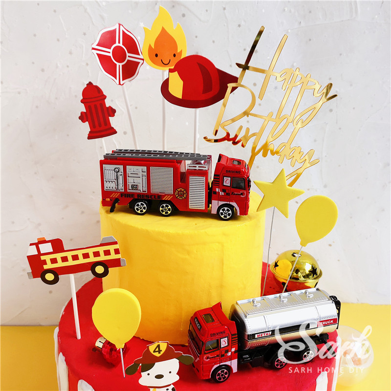 Image 2 - Fireman Set Fire Ladder Truck Decoration for Children's Day Water Tank Happy Birthday Cake Toppers Party Supplies Fashion Gifts-in Cake Decorating Supplies from Home & Garden