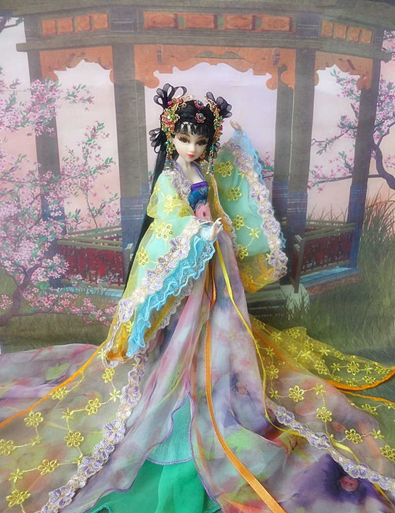 ФОТО 31cm Tang Dynasty Xue Tao Doll 12 Jointed High-end Handmade Chinese Costume Dolls Limited Collection Bjd 1/6 Doll Girl Gift Toys