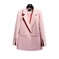 2018 Spring Autumn Suit jacket Women White Black Pink Korean Elegant Solid Loose Casual Blazer jacket Womens Formal Coat