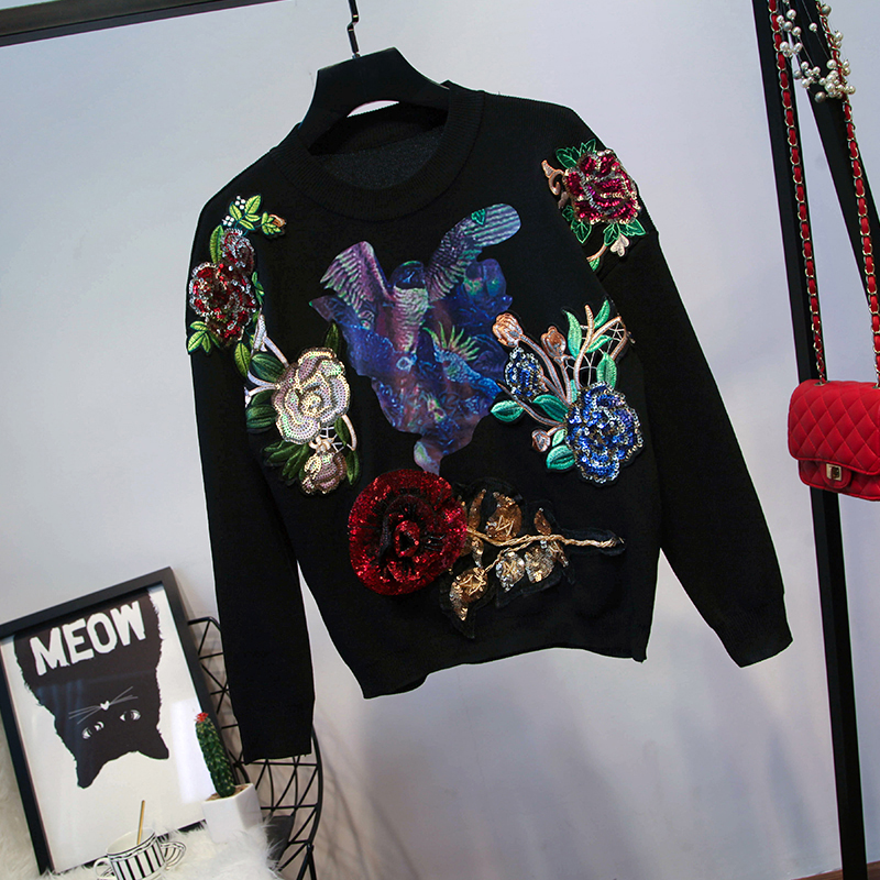 Pantalon À Costume black Manches Européenne Chandail De Pieds Mode Automne Nouvelle 2018 Longues Station Gray Paillettes Fleurs Femmes q87pZwC