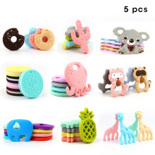TYRY.HU Silicone Teethers 5pcs Baby Beroligende Ring Teether BPA Free Silicone Chew Charms Baby Teething Toys Mat Grade Silicone