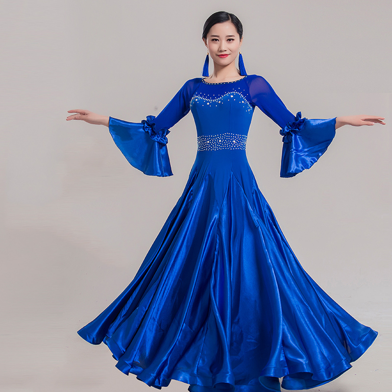 New Standard Ballroom Dance Competition Dresses women High Quality Custom Made Blue Stage Tango Waltz Dancing