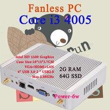 Мини-ПК Intel Core i3 4005Y 2 ГБ ОЗУ 64 ГБ SSD Max 2.08 ГГц VGA HDMI 4 К HTPC Малый TV Box Windows 10 Безвентиляторный Barebone USB 3.0