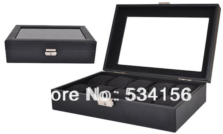 Free shipping Black luxury leather jewelry watches boxes display watches 10 pillow case watch boxFree shipping Black luxury leather jewelry watches boxes display watches 10 pillow case watch box