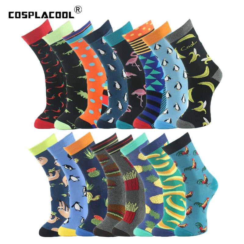 [COSPLACOOL]New Mens Socks Women Animal Chili Moustache Sloths Novelty Sock Combed Cotton Funny Socks Men's Big Size Crew Socks