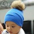 2016 Nuevo Algodón Beanie Sombrero de Los Cabritos Gorros Para Niñas y Niños Crochet Beanie bebé Pom Pom Sombreros Beanie Baby Girl Gorros Bebe Crochet Sombrero