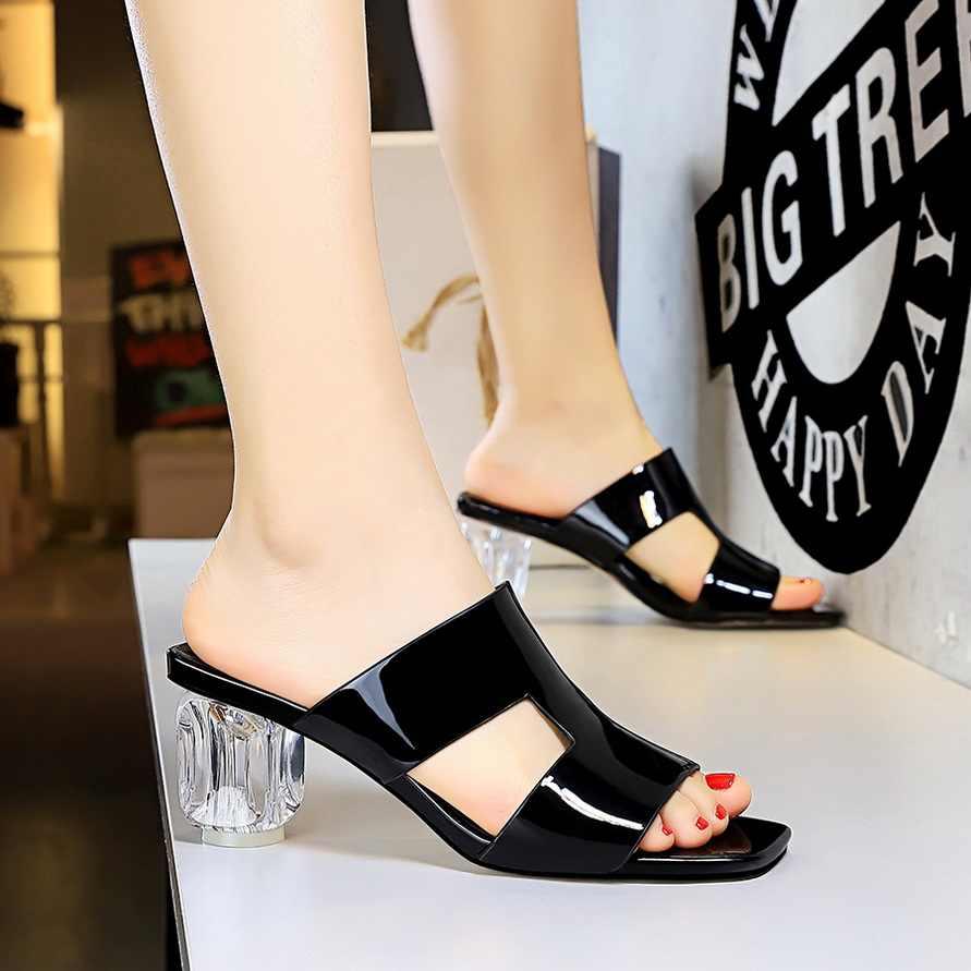 Açık toe topuklu yaz sandalet yüksek topuk terlik deri sandalet kadın blok topuk ayakkabı beyaz sandalet parti ayakkabıları bigtree ayakkabı
