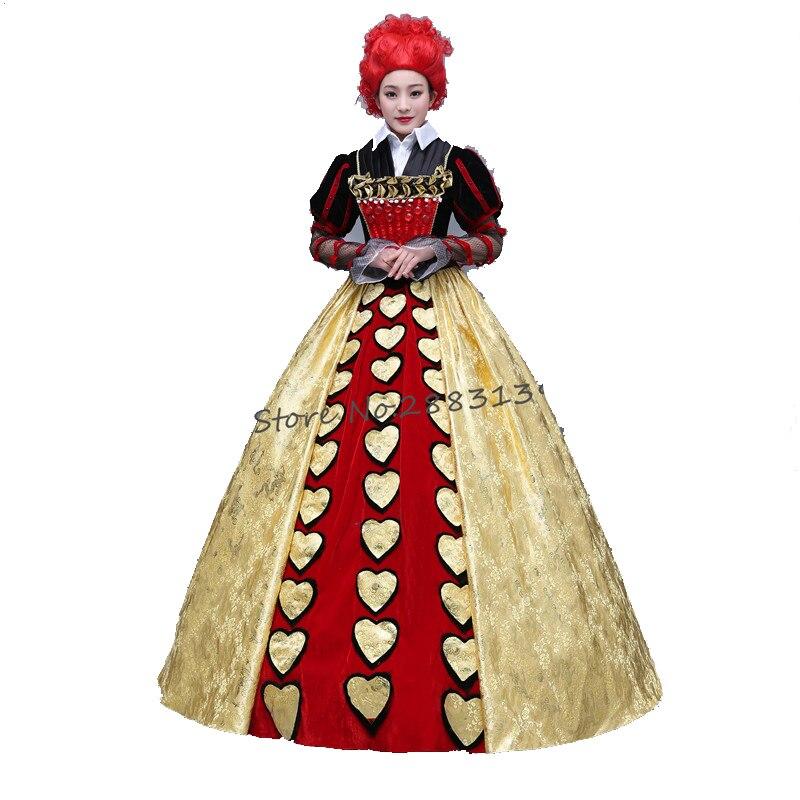 Alice in Wonderland Cosplay Costume vampire devil Queen of Hearts color costume dress for woman Halloween