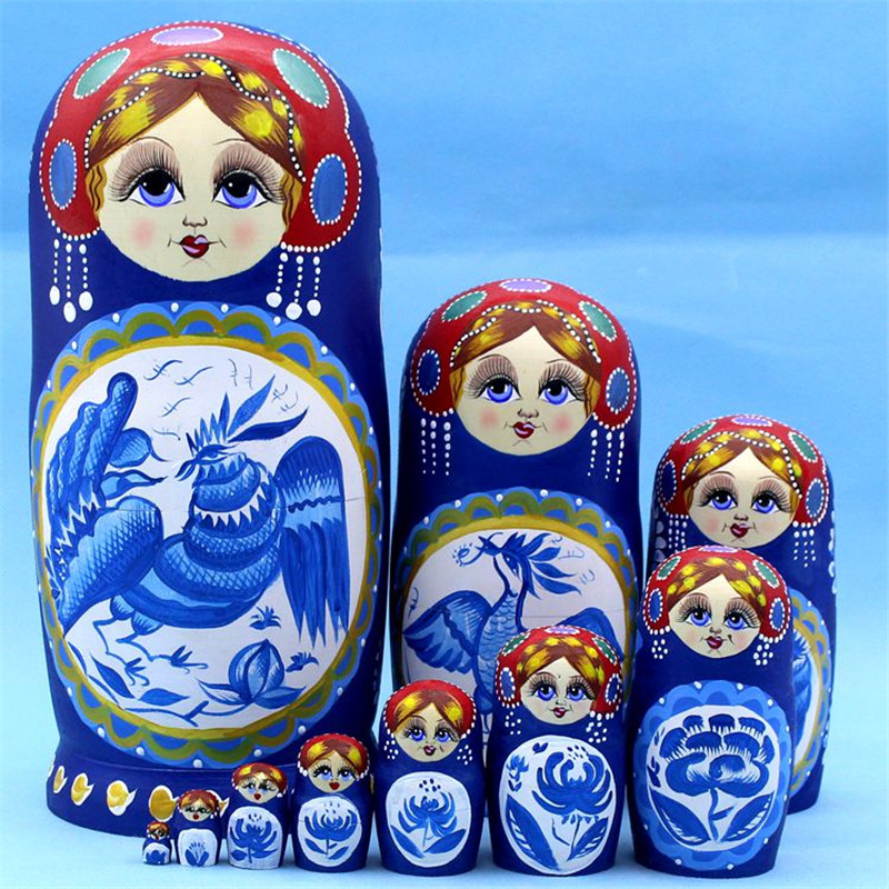 Mnotht Blue Cock 10Layer Wooden Russian Nesting Dolls Hand-Painted Dry Basswood Matryoshka Doll DIY Education Children Toys L30