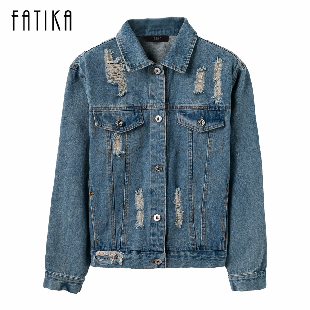FATIKA 2017 Women   Basic     Jacket   Autumn Winter Women Denim   Jackets   Vintage Long Sleeve Loose Female Jeans Coat Casual Outwear
