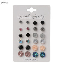 12 Pairs Women Earrings Assorted Crystals Druzy Stone Resin Round Stud Set