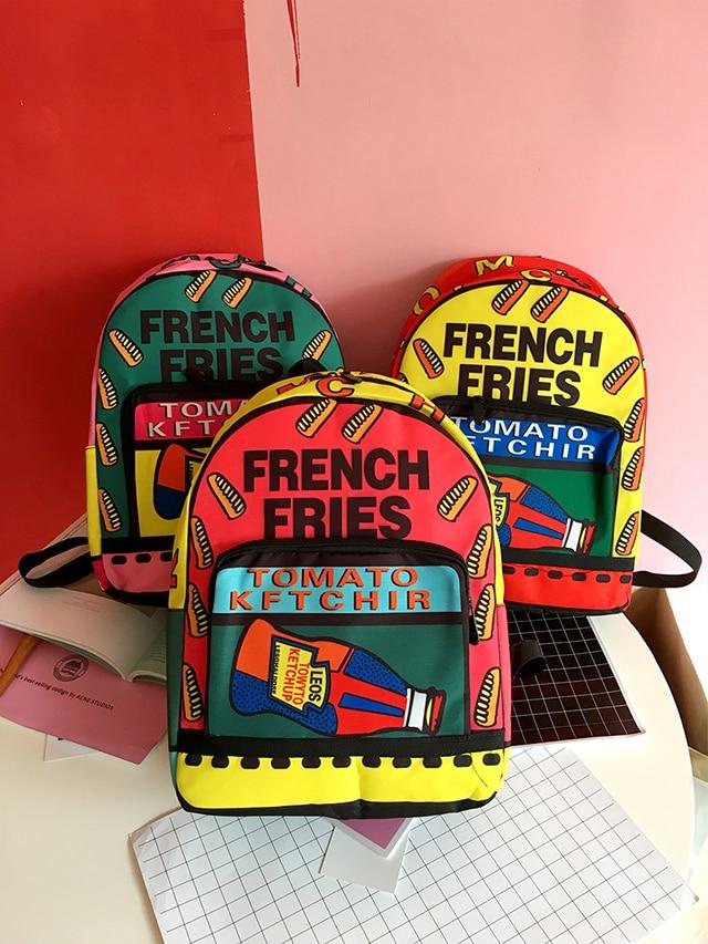 2017 Creative Girls Graffiti Printing Canvas Backpack Individuality