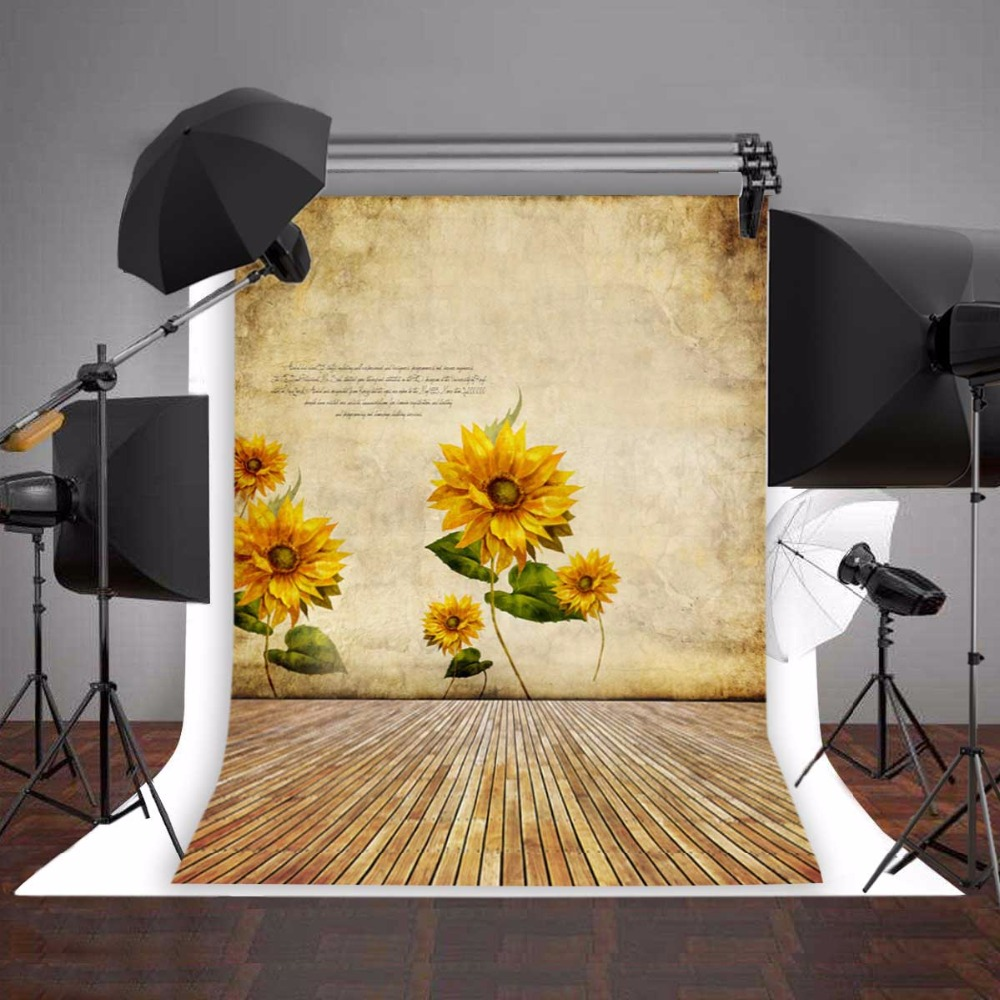 3x5ft flower wood wall vinyl background photography photo studio props - Baby Background Sunflower Photo Props Photo Studio Vinyl 5x7ft Or 3x5ft Children Wooden Floor Photography Backdrops Jiegq166 In Background From Consumer