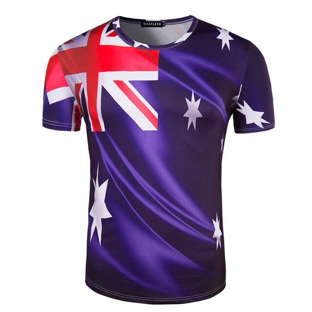 Новых Людей Прибытия Печати Австралийский флаг Футболка С Коротким Рукавом Летом одежда Бренд Clothing T Рубашка мужчин Шею Повседневный Топ тройники