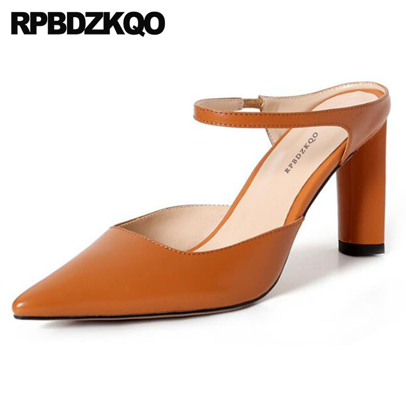 pointed toe mules slipper 2018 pumps brand designer shoes women summer sandals genuine leather chunky brown strap high heels 8cm ankle strap chunky elegant cool designer pointed toe pink high heels sandals women fashion 2018 summer shoes cross pumps closed