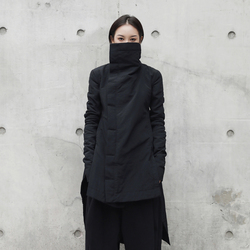 [EAM] 2019  New Fashion Winter Stand Lead Irregular Long Type Cotton-padded Clothes Loose Coat Solid Black Jacket Woman YA771 3